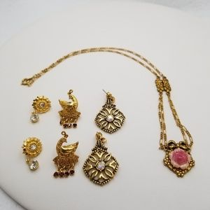 Avon Aurora Borealis Flower Earrings Necklace Lot